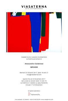 Alessandro Calabrese: Impasse, VIASATERNA, Milano, dal 24/10/2017