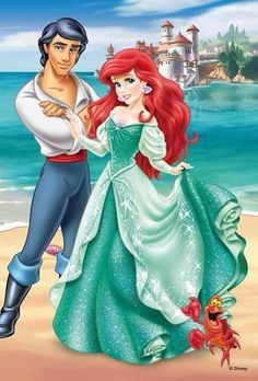 The Little Mermaid Photo: Walt Disney Images - Prince Eric, Princess Ariel & Sebastian Ariel Disney, Princesa Ariel Da Disney, Disney Little Mermaids, Cute Disney, Disney Girls, Aurora Disney, Mermaid Disney, Disney Couples, Disney Cartoon Characters