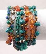 Carnelian, Metal & Turquoise Beaded Long Necklace