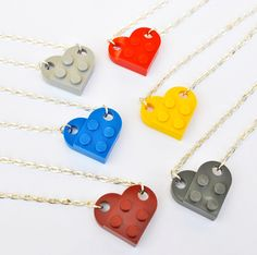 LEGO Necklace, Love Heart Necklace Valentines Wedding - 7 Funky Colours Red, Dark Red, Yellow, Blue, Black, Light Grey and Dark Grey
