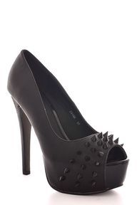 Checkout this amazing product Black  Faux Leather Spiked Peep Toe Court Shoe from KotruaStyles,$38