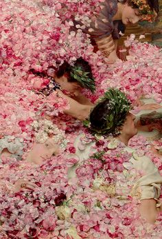 """"""" Lawrence Alma-Tadema- The Roses of Heliogabalus (detail) (1888) As it was painted during the winter, Tadema arranged to have roses sent weekly from the French Riviera for four months to..."""