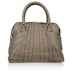 50% off Valentino - Leather Pleated Shoulder Bag Taupe - $1,437.50