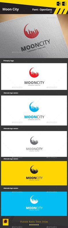 Moon City Logo Design Template Vector #logotype Download it here:  http://graphicriver.net/item/moon-city/9266531?s_rank=483?ref=nesto