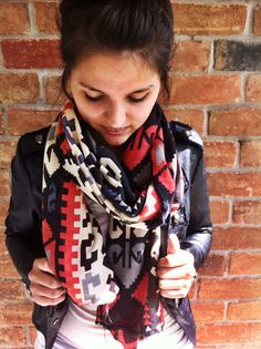Southwestern Scarf in Tribal Coral and Black Arrow Print Pattern Scarf Bohemian Scarf on Etsy, $21.99