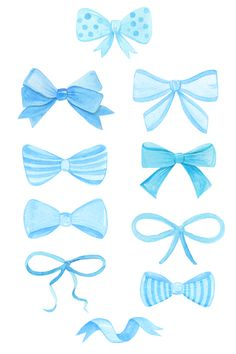 watercolor blue bow ties and ribbons set. Hand drawn elements for nursery decor, baby shower invitations, wall art, scrapbooking and other designs. Ribbon Png, Ribbon Bows, Bow Clipart, Watercolor Fashion, Blue Bow, Scrapbook Stickers, Baby Prints, Gifts For Boys, Baby Shower Invitations