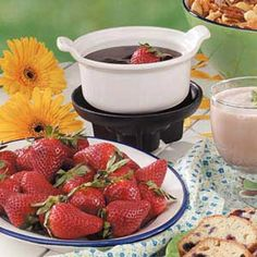Chocolate Dessert Fondue Recipe -This creamy, delectable dip is a chocolate lover's dream. You'll want to sample it with a variety of dippers, including strawberries, banana chunks and cake cubes. Jane Shapton of Irvine, California sent the recipe.