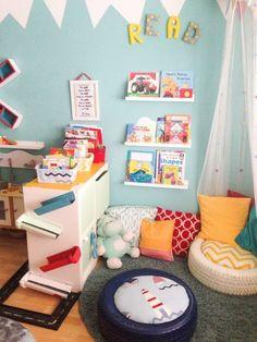 Playroom Design, Playroom Decor, Sunroom Playroom, Colorful Playroom, Playroom Colors, Playroom Layout, Playroom Seating, Small Playroom, Corner Seating
