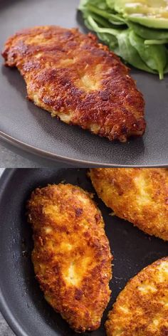 Crispy Parmesan Crusted Chicken Breasts (Low-Carb – Keto) Light and Crispy on the outside and tender on the inside this parmesan crusted chicken is a must try! It's made in under 10 minutes and is low-carb and keto at only 1 carb per serving! Low Carb Keto, Low Carb Recipes, Cooking Recipes, Healthy Recipes, Crockpot Recipes, Vegetarian Recipes, Dinner Crockpot, Greek Recipes, Healthy Desserts