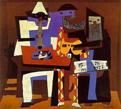 Pablo Picasso, I tre musici, 1921 Olio su tela, 201x223 cm, New York, Museum of Modern Art