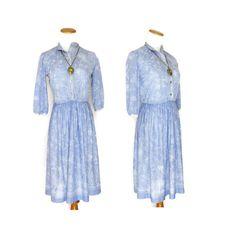 Blue Floral Dress / Light Blue Dress / Secretary Dress / Pastel Blue Dress / 70s Dress / Lace Sleeve Dress / Shirtwaist / Size Small Medium by GoodLuxeVintage on Etsy