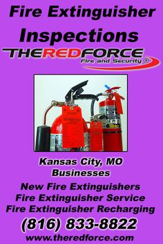 Fire Extinguisher Inspections Kansas City, MO (816) 833-8822 Call the Experts at The Red Force Fire and Security.. We are the complete source for Fire Extinguisher Service for Local Missouri Businesses We would love to hear from you.. Call us Today!