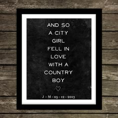 Wedding Decor City Boy and Country Girl Your by OhThisWedding