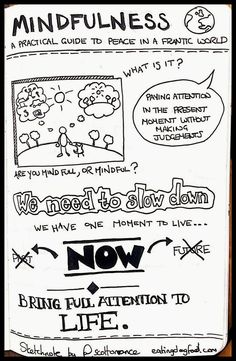 """""""Love this mindfulness from excellent piece. Visual Note Taking, Visual Thinking, Zentangle, Buddhist Practices, Sermon Notes, Stress, Uplifting Words, Sketch Notes, Conscience"""