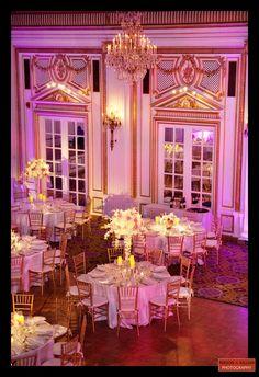 Beautiful pink and purple wedding in the Fairmont Copley Plaza Grand Ballroom, Boston ballroom wedding