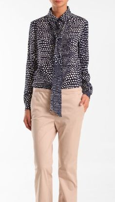 love this tibi blouse with removable tie neck.