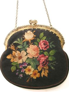 Antique Vintage Petit Point Pruse Trinity Plate Jeweled Frame Bag Handbag #Handmade