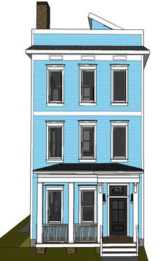 Front facade with large front porch, crown trim over windows, corbels on entry way, wide columns, tin porch roof, wide eaves, tall windows on second and third story,