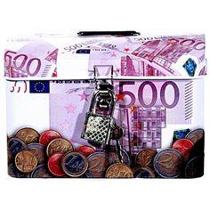 Spaarpot 500 euro biljet met slotje. Een vierkant metalen spaarpotje met de opdruk van een 500 euro biljet. Formaat: ongeveer 9 x 7,5 x 6 cm.