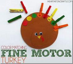 Color Matching Fine Motor Turkey for Preschoolers