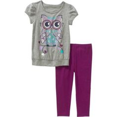 Healthtex Toddler Girls' Knit Tunic and Leggings Outfit Set, Toddler Girl's, Size: 4 Years, Gray