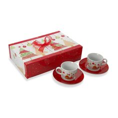 Promotional 6 piece espresso set of 6 cups and 6 saucers with multi-coloured Christmas pattern decoration. Presented in matching gift box. Christmas Colors, Christmas Gifts, Espresso, Matching Gifts, Pattern And Decoration, Promotion, Decorative Boxes, Presents, Tableware