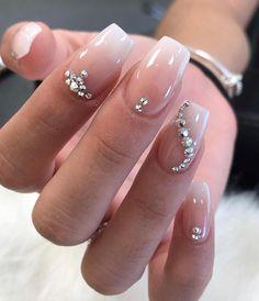Ombré elegance 🤩  Nails by       Gem Nails, Diamond Nails, Swarovski Nails, Rhinestone Nails, Nail Swag, Overlay Nails, Blush Pink Nails, Nagel Bling, Cute Nail Art Designs