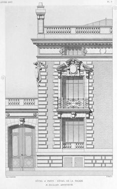hotel elevation Partial elevation of a hotel particulier, Paris Architecture Concept Drawings, Brick Architecture, Classic Architecture, Landscape Architecture, Modern Buildings, Small Buildings, Stone Decoration, Elevation Drawing, Neoclassical Architecture