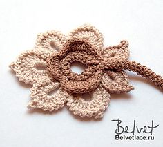 Crochet Flowers Design Ravelry: RUS Flower from Bolero Cappuccino pattern by Victoria Belvet - Irish Crochet Patterns, Crochet Motifs, Freeform Crochet, Crochet Diagram, Crochet Art, Thread Crochet, Crochet Designs, Crochet Crafts, Crochet Projects
