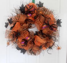 Extra Large Halloween Wreath, Deco mesh Halloween Wreath, Spiders, Black and…