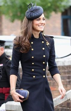 Catherine, Duchess of Cambridge in a military style coat dress.
