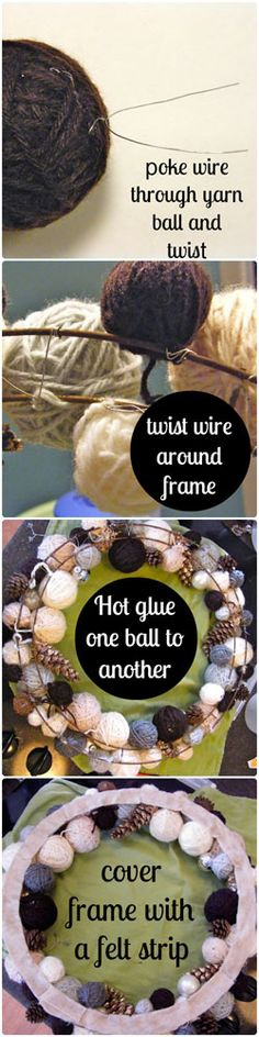 Yarn Ball Wreath Trio- Tutorial What a great way to use up odds & ends