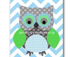 Owl Decor Owl Nursery Baby Boy Nursery Art Nursery by artbynataera