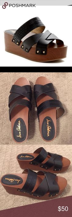 """Sam Edelman Bane Shoes. Black leather with brown wedge. Never been worn- perfect condition. Size 8.5. About 2"""" platform. All of my prices are negotiable within reason :) Sam Edelman Shoes Platforms"""
