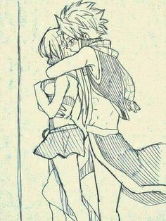 Natsu puts his right leg between Lucy's legs and his left arm wrapped arm around her neck with his mouth on the back of her neck