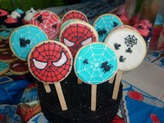 Spiderman Theme, Man Cookies, Cookie Pops, 6th Birthday Parties, Cakes For Boys, Fancy Cakes, Ale, Minnie Mouse, Sweet