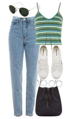"""Untitled #5694"" by rachellouisewilliamson on Polyvore featuring Topshop, Yves Saint Laurent, Superga, Ray-Ban and Boohoo"