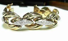 3.80ct diamond  bracelet 14K Y/G Designer Italian Made VS1 F color #Tennis