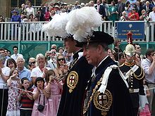 Prince William and his father Prince Charles at the annual Knights of the Garter ceremony. There are only a defined number of knights in this ancient order.
