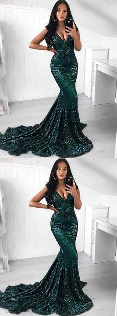 Mermaid Sweep Train V-Neck Green Sequined Prom Dress M3014