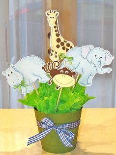 Animal Baby Shower Idea for centerpiece for any kind of theme or event. Jungle Animal Centerpiece for baby ShowerIdea for centerpiece for any kind of theme or event. Jungle Animal Centerpiece for baby Shower Baby Shower Table Set Up, Cute Baby Shower Ideas, Baby Shower Parties, Baby Shower Themes, Baby Boy Shower, Baby Shower Gifts, Baby Showers, Shower Party, Jungle Theme Decorations
