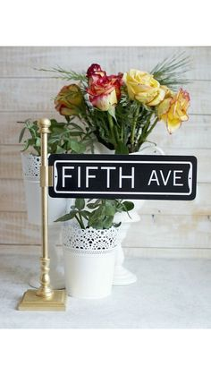 Street sign table number holders by Thestandshop on Etsy