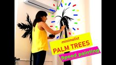 DIY : How to Paint Black Palms Trees in a Minimalist Living Room - Speed Mural Painting Mural Painting, Mural Art, Painting Process, Can Design, Acrylic Colors, Minimalist Living, Palms, Palm Trees, Art Projects