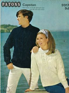 Patons 9917 mans and  ladies aran jumper  vintage knitting pattern * ORIGINAL *