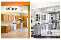Kitchen : Brilliant Diy Painting Kitchen Cabinets Before After Xfeo Home Design… Painting Kitchen Cabinets, Kitchen Cabinetry, Kitchen Paint, Kitchen Redo, Bathroom Cabinets, 10x10 Kitchen, Open Cabinets, Granite Kitchen, Design Kitchen