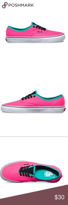 Authentic (brite) vans (Brite) neon pink/ black Size: 8.5 mens / 10.0 women's   Brand new never been used Vans Shoes Sneakers