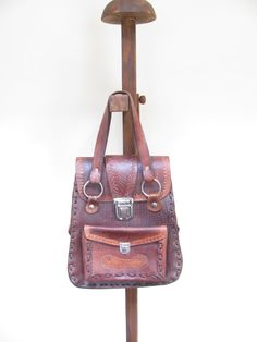 Brown Leather Bag - Vintage Handcrafted Leather Bag / Handbag / Purse / Tote on Etsy, $74.00