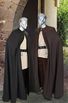 Men's Leather Trimmed Cloak No. 8 - 164.00USD - Medieval and Renaissance Clothing, Handmade by Your Dressmaker