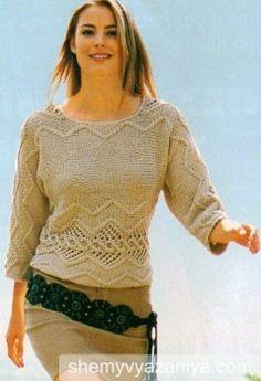 Узорчатый пуловер, связанный поперек