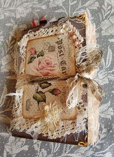 Handmade Shabby Chic Vintage Journal diary stitching junk